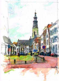 """""""Middelburg Damplein"""" by Wim Van De Wege - Daily Paintworks"""