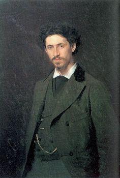 Portrait of the Artist Ilya Repin by Ivan Kramskoy (Russian 1837-1887)
