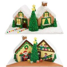 A detailed alternative to a gingerbread house! This fun holiday design uses two Stand-Up House cakes so there'll be plenty of dessert to go around.