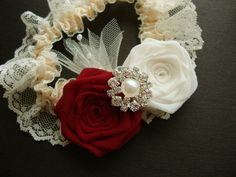 Apple Red Ivory Rose Lace Garter Something Blue Bride Bridal Silk Rosebud Wedding Flower Rhinestone Jewel Pearl Cream Wine Ruby Cherry Royal