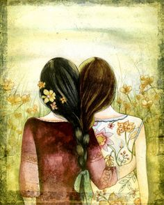Art print sisters best friends  with black by PrintIllustrations, $20.00