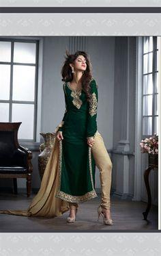 Picture of Flamboyant Bottle Green Velvet Party Wear Salwar Kameez