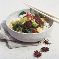 Htc oriental pork casserole with stir fried green vegetables