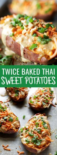 Easy vegan thai twice baked sweet potatoes made with coconut cream and homemade peanut sauce. Ready in under an hour and perfectly filling and healthy! Nutritionalfoodie.com