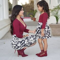 Spring Style Matching Mother and Daughter Dress Family Look Mommy and Me Clothes Long Sleeve Short Dress Mom Daughter Matching Outfits, Mommy And Me Outfits, Family Outfits, Girl Outfits, Cute Outfits, Mommy Daughter Dresses, Long Sleeve Short Dress, Short Dresses, Girls Dresses