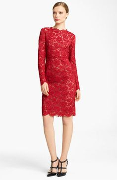 Valentino Bow Detail Lace Sheath Dress available at #Nordstrom