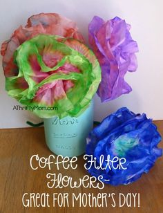 coffee filter flowers, mothers day gift idea, mothers day craft idea, thrifty gift idea, diy flowers, paper flowers, kids craft, thrifty craft ideas