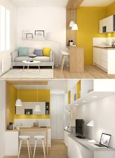 home decor for small spaces Peinture division aire ouverte Condo Interior Design, Condo Design, Kitchen Interior, Small Apartment Design, Small Apartment Tips, Studio Type Condo Ideas Small Spaces, Studio Apartment Design, Small Apartment Kitchen, Micro Apartment
