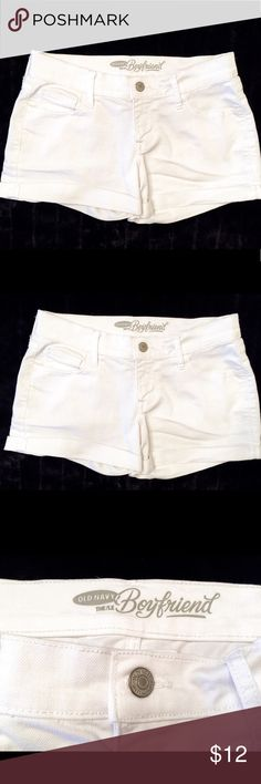 "O.N. ""The Boyfriend"" White Rolled Hem Denim Shorts Old Navy ""The Boyfriend"" rolled hem denim shorts in bright white. Size 0, measures 28"" waist x 2.5"" inseam. Old Navy Shorts Jean Shorts"