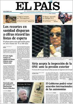 Los Titulares y Portadas de Noticias Destacadas Españolas del 26 de Agosto de 2013 del Diario El País ¿Que le pareció esta Portada de este Diario Español?