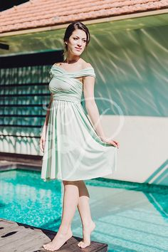 Style in random - mint straight hem convertible dress  By The Peppy Studio ( previously known as Craftingsg)