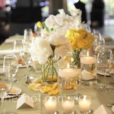 White and Yellow Centerpieces