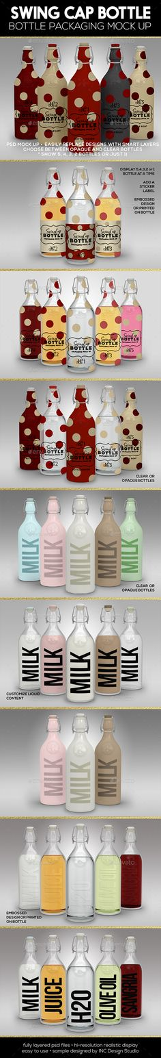 Bottle Packaging mock up for drinks, sauces, oils, juices, soda, specialty bottle packaging