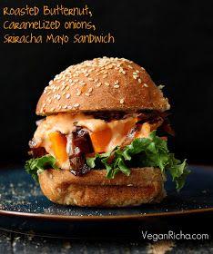 Vegan Richa: Roasted Butternut Squash Slider with Balsamic Caramelized onions, Sriracha Mayo. Vegan Sandwich Recipe