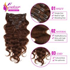 7A Grade 100% Virgin Body Wave Clip In Human Hair Extensions Brazilian Virgin Human Hair Clip In Extensions 2Sets for Full Head