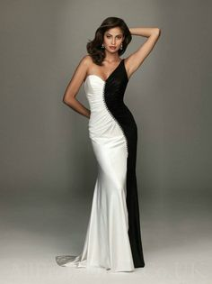 Elegant Black & White Evening Dress