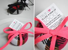 DIY Sock ball charity wedding favor...I LOVE This! I spend hours and hours researching the internet to find unique product and ideas, and I always squeal when I come across something like this! Cost break down, $1.52 for each favor. Perfect for a Fashionista wedding or a Fashioned themed Bridal or Baby Shower.