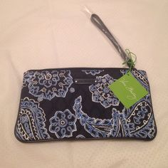 Blue Bandana Slim Zip Wristlet This Wristlet has 2 big pockets on the inside and 4 card slots! Never used! 10 inches long and 5 inches up and down! Vera Bradley Bags Clutches & Wristlets