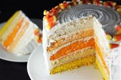 Ombre Candy Corn Cake love this for a beautiful halloween dessert!