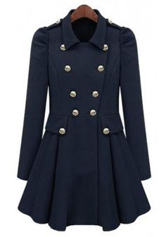 Navy Blue Pleated Puff Sleeve Polyester Trench Coat