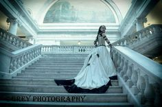 wedding, bridal, bride, dress, ivory and black, goth, gothic, stairs, state capital. By Grey Photography