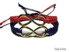 Gold, navy blue and red - perfect combination! ♥ Matching Infinity Bracelets by ElwynJewelry Infinity Bracelets, Cord Bracelets, Bracelets For Men, Friendship Bracelets, Infinity Charm, Couple Bracelets, Macrame Cord, Bracelet Making, Special Gifts