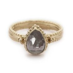 Unique grey diamond engagement ring from Ruth Tomlinson, handmade in London