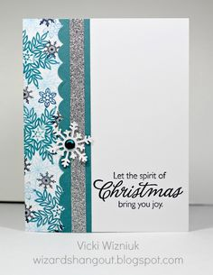 Supplies used (all CTMH unless otherwise noted): Paper: White Daisy, Twilight CS Stamps: Snowflakes, Merry & Bright Inks: Sky, Indian Corn Blue, Twilight, Outdoor Denim Embellishments: Silver Trim, Blue Sparkle Punches: Snowflake (Martha Stewart), Embossed Scallop Border (Martha Stewart)