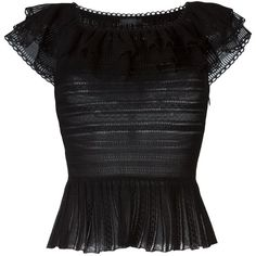 Alexander McQueen Victorian lace knit top (133.845 RUB) ❤ liked on Polyvore featuring tops, black, shirts, alexander mcqueen, blusa, lace knit top, off the shoulder short sleeve tops, black short sleeve top, victorian lace top and off shoulder tops