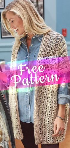 Two-Rectangle Cardigan [CROCHET FREE PATTERN] #crochetfreepattern #freecrochet #crochet2 #pattern #jobcrochet #croche #howtocroche