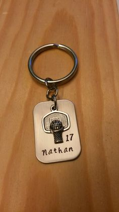 Hand Stamped Basketball Keychain Basketball Team Keychains by BlackWolfDesigns21