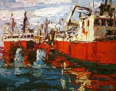 Red Boats Painting  - Red Boats Fine Art Print
