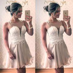Stitching white lace apricot sleeveless dress