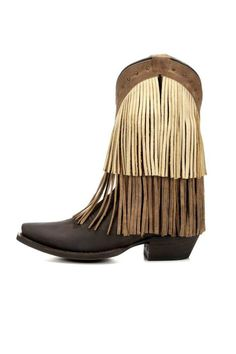 Two layers of long leather fringe cover the crazy horse brown upper and the collar is punched with brasstone studs, while the toe ends in a sharp-looking snip. A distinctive fringe boot, keeping you right on trend.    Shaft Height: 10?  Toe: Snip  Heel Height: 1 3/4?  Cushion Insole  Leather Outsole  Goodyear Welt Construction  Shaft Circumference: 13? on size 7 (measurement varies by size)                           Sugar Sand Fringe by Redneck Riviera. Shoes - Boots Ohio
