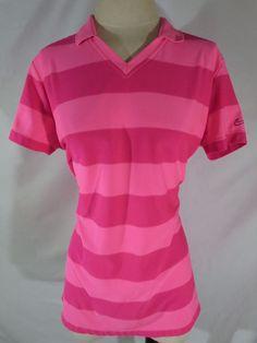 Nike Golf Womens Shirt XL Tour Performance Dri-Fit Pullover Pink Striped #NikeGolf #ShirtsTops