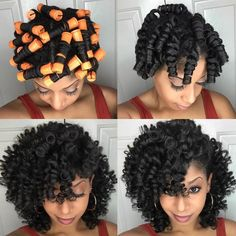 45 Excellent Hairstyles for Short and Medium Natural Hair to Try Soon! - - 45 Excellent Hairstyles for Short and Medium Natural Hair to Try Soon! Best Hair Masks Trends Best DIY H. Roller Set Natural Hair, Fine Natural Hair, Natural Hair Updo, Natural Curls, Natural Hair Tutorials, Natural Makeup, Cabelo Natural 3c, Pelo Natural, Medium Hair Styles