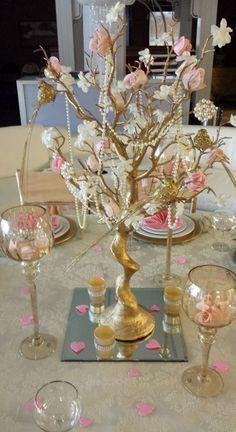 Pink and gold Manzanita tree! Manzanita Tree Centerpieces, Pearl Centerpiece, Elegant Centerpieces, Shower Centerpieces, Wedding Centerpieces, Wedding Table, Wedding Favors, Communion Centerpieces, Wedding Ideas