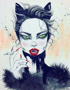 Kai Fine Art is an art website, shows painting and illustration works all over the world. Art And Illustration, Fantasy Kunst, Fantasy Art, Desenhos Halloween, Art Anime, Watercolor Artwork, Gothic Art, Catwoman, Dark Art