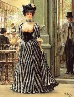 Society lady in a black & white stripped dress, c.1890.