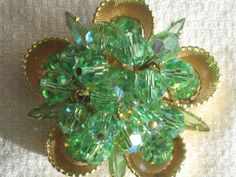 D&E Juliana Goldtone Flower Brooch Pin Green by RicksVintagePlus, $75.00