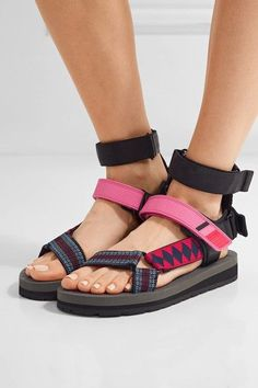 Sole measures approximately 1 inch Multicolored canvas and rubber, black leather Velcro®-fastening slingback strap Imported Fendi, Gucci, Rubber Sandals, Sport Sandals, Hot Shoes, Canvas Leather, Ankle Strap, Prada, Fashion Shoes