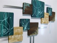 HUGE Teal U0026Brown CONTEMPORARY ABSTRACT SQUARE Wood Metal Wall Hangings. Living  Room ... Part 87