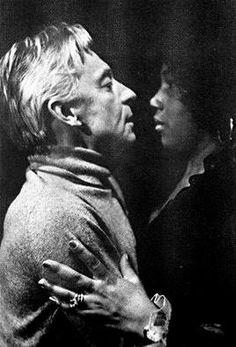 Herbert von Karajan during rehearsal with Leontyne Price. Date,photographer unknown
