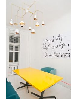 Conference room inspiration - Love the bright yellow table and the quote on the wall