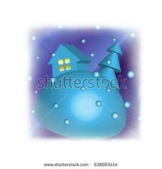 house and tree in snow - volumetric illustration
