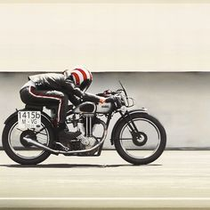 combustible-contraptions:Motos de Caractère Only. | Only Motorcycles with Characters  Quarter Helmet | Pull Visor | Riding Gear | Norton Racer | 1935 ES2500 | Iron Bikers