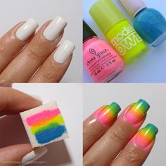 Neon Gradient Ombre Nails