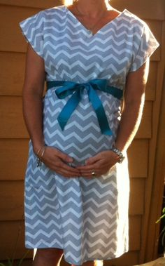 Chevron print Maternity Hospital Gown. Modern and fun, custom made to order. Gown overlaps in the back for complete coverage and ties in the