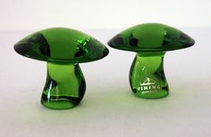 Set of Viking Art Glass Green Mushrooms Vintage hand made little art glass mushrooms.