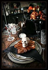I just bought this same skeleton head at DOLLAR TREE yesterday .... I am soooo going back!!! halloween tablescapes